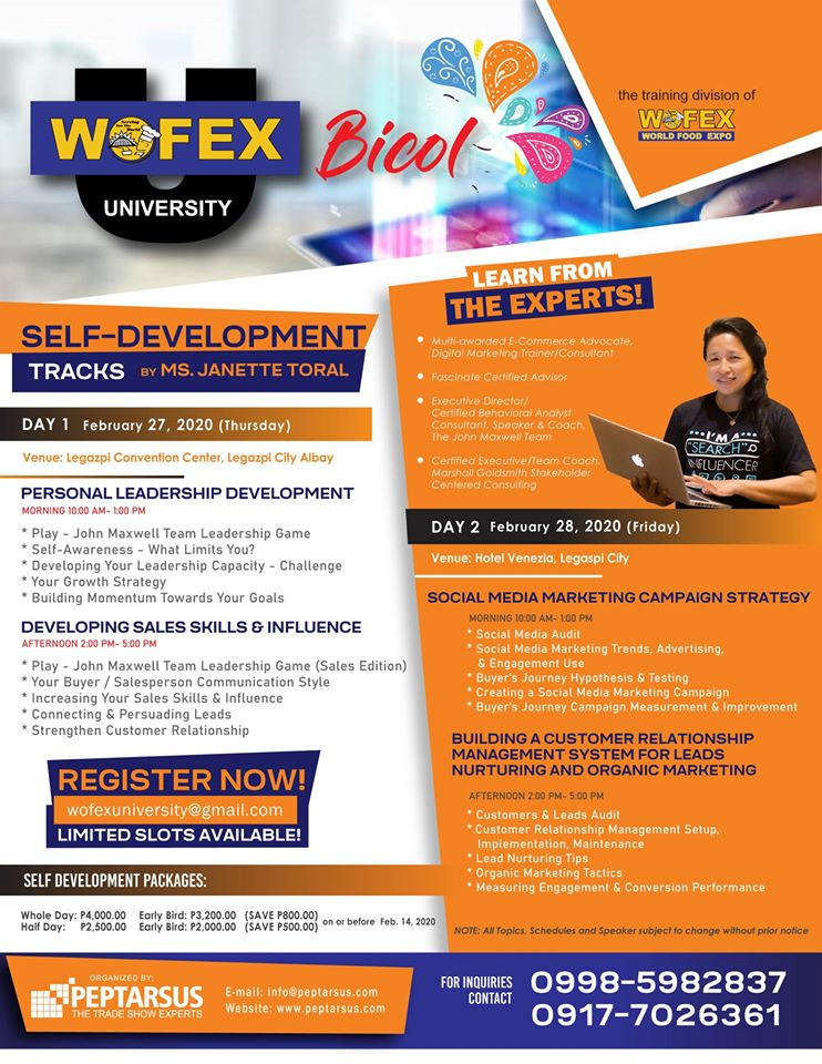 Wofex University - Bicol: Self-Development Tracks